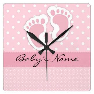 """Baby Girl Footprints"" Wall Clock"