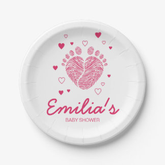 Baby girl footsteps paper plate
