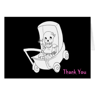 Baby Girl Halloween Skeleton Thank You Notes