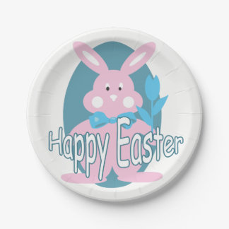 Baby Girl Happy Easter Bunny Paper Plate