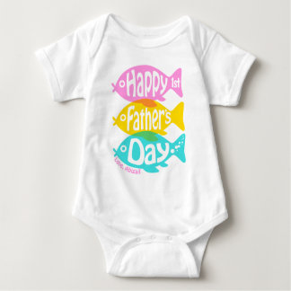 Baby Girl Happy First Fathers Shirt Fishing