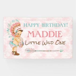 Baby Girl Headdress Native American Pink Aqua Banner