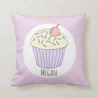 Baby Girl Heart Pattern Cupcake with Name Nursery Throw Pillow