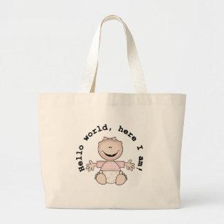 Baby Girl Hello World Large Tote Bag