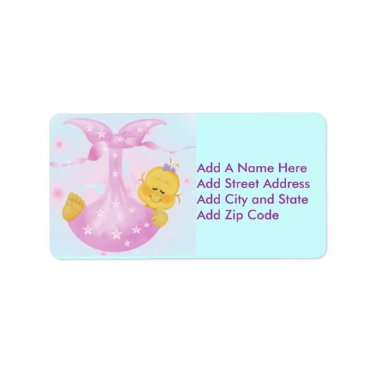 Baby Girl in Blanket Return Address Label