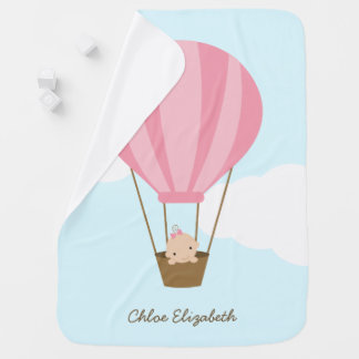 Baby Girl in Pink Hot Air Balloon Baby Blanket
