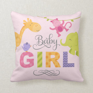 Baby Girl | Jungle Animals Throw Pillow