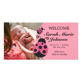 Baby Girl Ladybug Birth Announcement Photo Greeting Card
