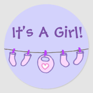 Baby Girl Laundry It's A Girl! Personalized Round Sticker