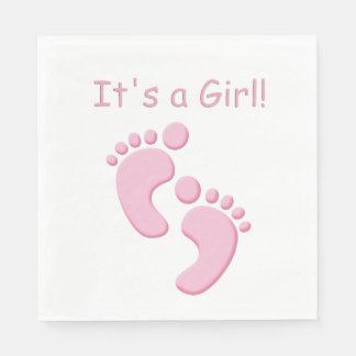 Baby Girl Little Feet Baby Shower Napkin Paper Napkins