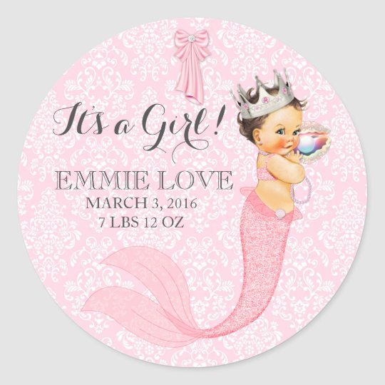 Baby Girl Mermaid Princess Crown Announcement Classic Round Sticker