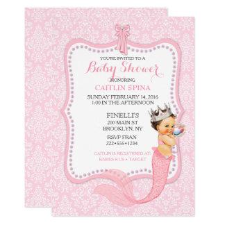 Baby Girl Mermaid Princess Crown Damask Card