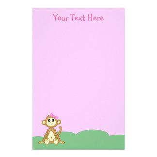 Baby Girl Monkey Pink Stationery