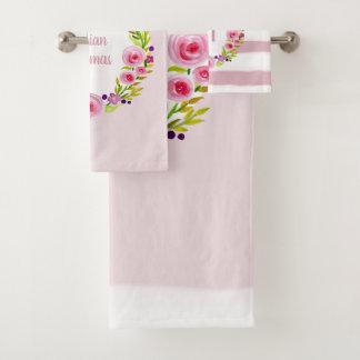 Baby Girl Monogram Watercolor Flower Wreath Name Bath Towel Set