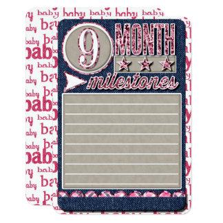 Baby Girl Monthly Milestones JOURNAL CARD