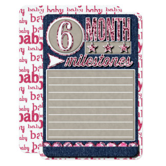 Baby Girl Monthly Milestones JOURNAL CARD
