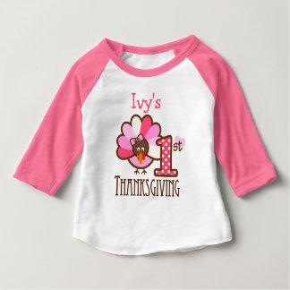Baby Girl My First Thanksgiving Shirt Pink