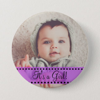 Baby Girl Name and Photo Magnet Purple Personalize 3 Inch Round Button