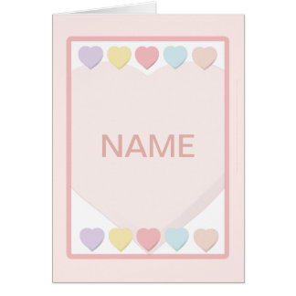 Baby Girl Name Pastel Hearts Greeting Card