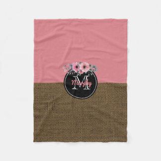 Baby Girl Name | Rustic Burlap Floral Pink Nursery Fleece Blanket