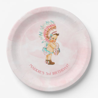 Baby Girl Native Headdress Moccasins Blush Aqua Paper Plate