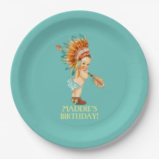 Baby Girl Native Tribal Headdress Moccasins Paper Plate
