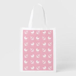 Baby girl nautical pattern reusable grocery bag