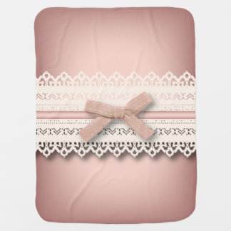 baby girl nursery princess lace blush pink bow baby blanket