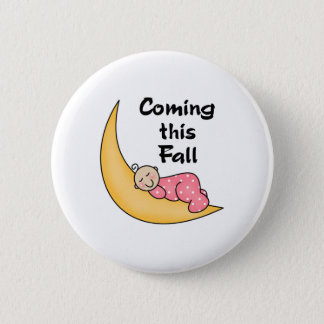 Baby Girl on Moon Fall 2 Inch Round Button
