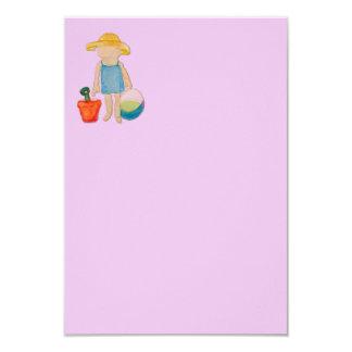 "Baby Girl on Summer Beach Birthday Rose Pink Stamp 3.5"" X 5"" Invitation Card"