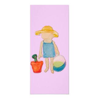 "Baby Girl on Summer Beach Birthday Rose Pink Stamp 4"" X 9.25"" Invitation Card"