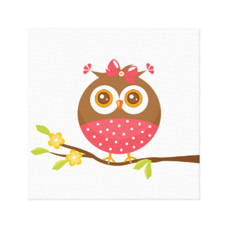 Baby Girl Owl Canvas Print