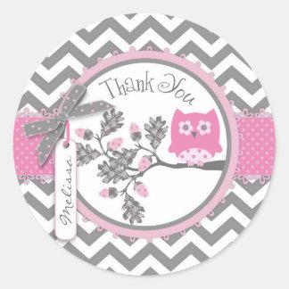 Baby Girl Owl Chevron Print Thank You Label Classic Round Sticker