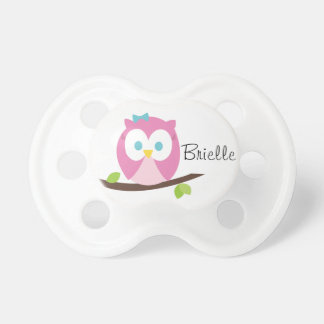 Baby Girl Owl on a Branch Pacifier