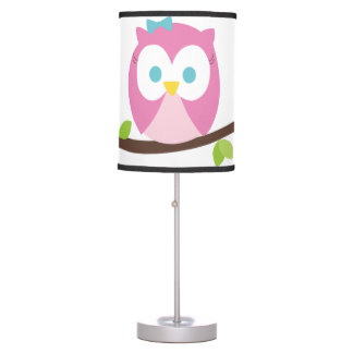 Baby Girl Owl on a Branch Table Lamp