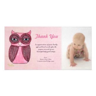 Baby Girl Owl Thank You Photo Template Photocard