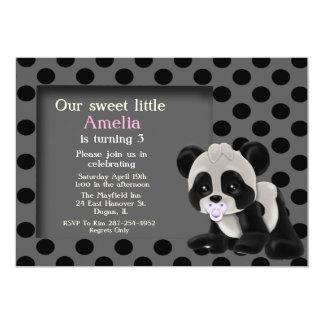 Baby Girl Panda Bear 3rd Birthday Invitation