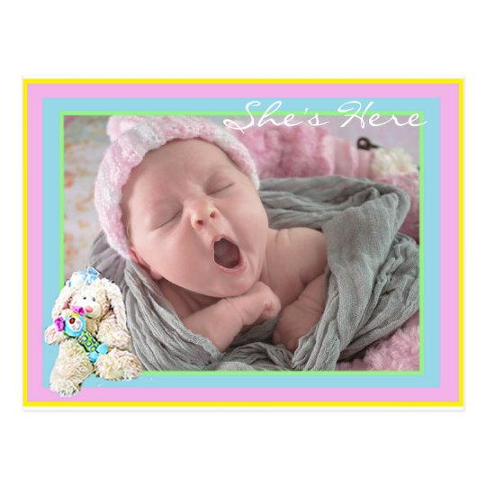 Baby Girl Pastel  Birth Announcement Postcard