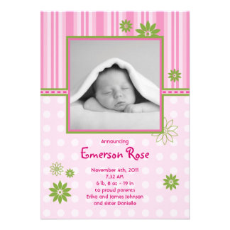 Baby Girl Photo Birth Announcement