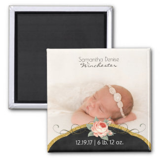 Baby Girl Photo Birth Announcement | Gold Glitter Square Magnet