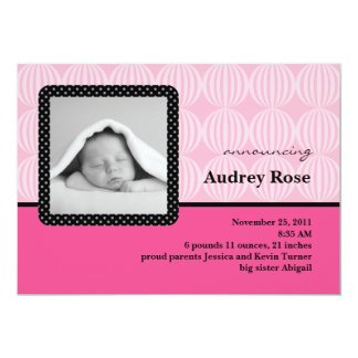 "Baby Girl Photo Birth Announcement 5"" X 7"" Invitation Card"