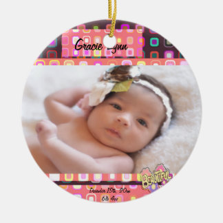 Baby Girl Photo Keepsake Ceramic Ornament