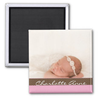 Baby Girl Photo Keepsake | Personalized Pink Brown Magnet