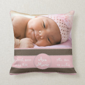 Baby Girl Picture Pillow Announcement