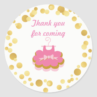 Baby girl Pink and gold tutu Round Sticker