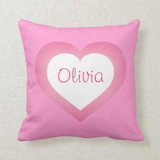 Baby Girl pink and white heart Throw Pillow