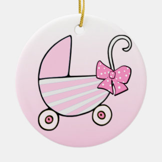 Baby Girl Pink Baby Buggy Ceramic Ornament