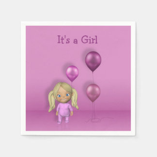 Baby Girl & Pink Balloons It's a Girl Paper Napkin