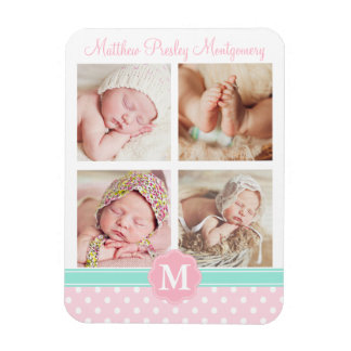 Baby Girl Pink Birth Keepsake Personalized Photo Magnet