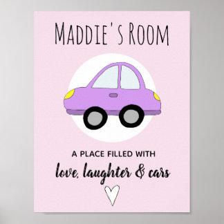 Baby Girl Pink Car Name Nursery Encouragement Poster